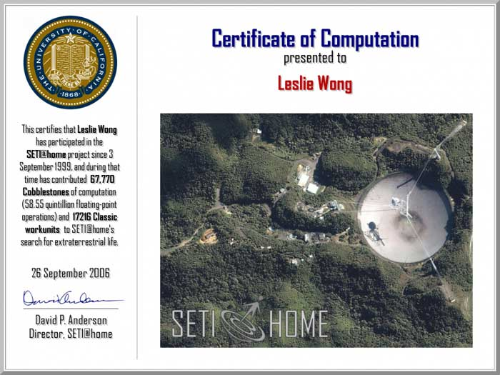 SETI@home Certificate of Computation