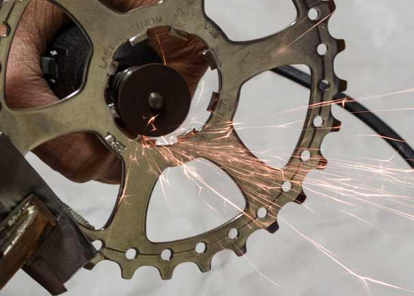 Grinding the splines on a Campagnolo 10 speed compatible cog