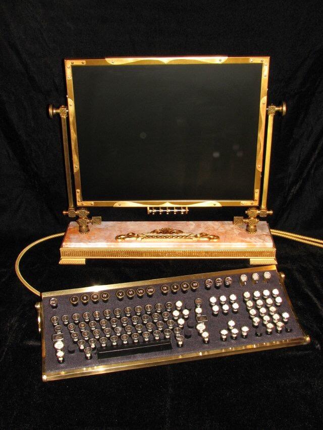 Jake von Slatt's Steampunk Monitor and Keyboard